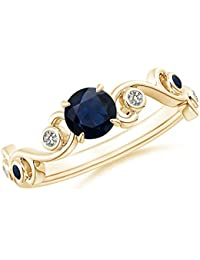 Blue Sapphire and Diamond Ivy Scroll Ring for Women