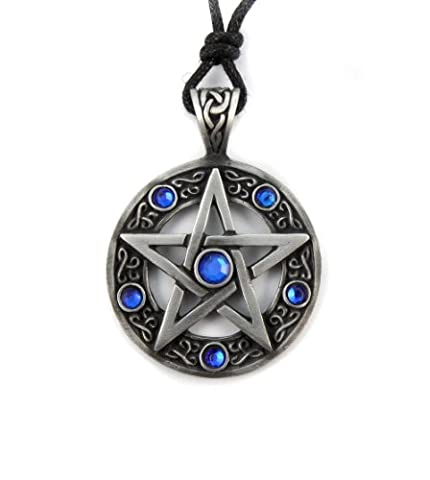 Mystical & Magical Pewter - Blue - Pentagram Pentacle Celtic Pagan Wiccan Gothic Pendant