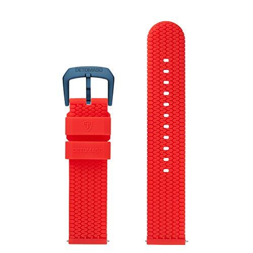 DETOMASO Uhrenarmband Silikon-Armband 20mm 22mm 24mm mit Schnellwechsel Federsteg und Dornschließe (22mm, rot - dunkel Blaue Schließe)