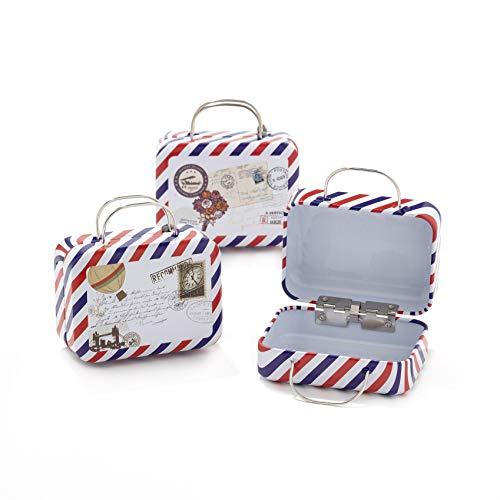 12pz scatola forma bagaglio valigia borsa in materiale ferro-portaconfetti bomboniere tema viaggio mondo (b5)