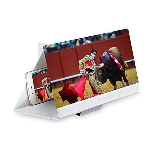 (YOLE 12-Zoll-Bildschirmvergrößerung Gläser 3D-Smartphone Film-Verstärker Verstärker Faltung Steht jedes Smartphone, Display Vergrößerung Artefakt Unisex,White)