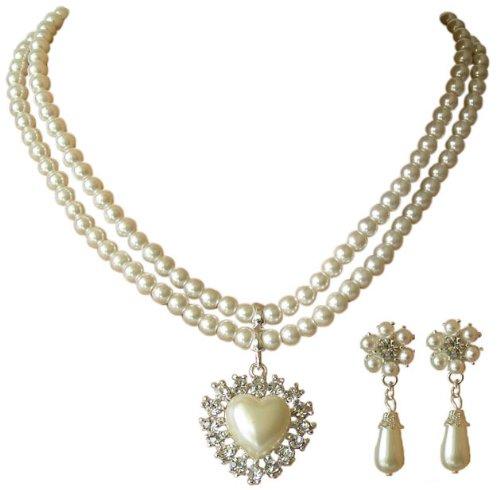 Trachtenschmuck Dirndl Collier Perlen Set Herz mit Kristallen – Set bestehend aus Kette und Ohrringen