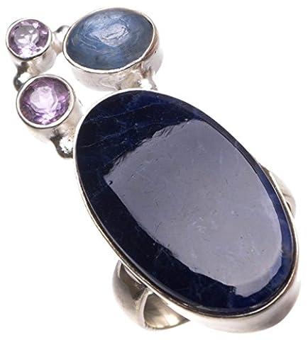 Stargems (TM) Naturel Bleu marine sodalite, Kyanite et améthyste faite à la main Unique Bague en argent sterling 925, taille M