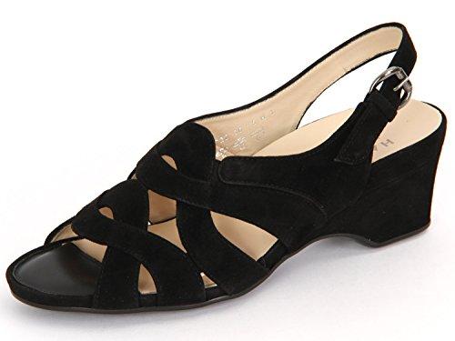 Hassia Varese 30 5142-0100 Damen Sandale Komfort Weite H Samtziege-Leder Schwarz (Schwarz), 38 EU/5 UK (Varese Schuhe)
