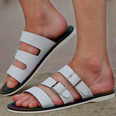 Sommer Sandalen Herrenschuhe Outdoor/Sportlich/Casual Hausschuhe aus Leder Schwarz/Weiß Schwarz pokHDo
