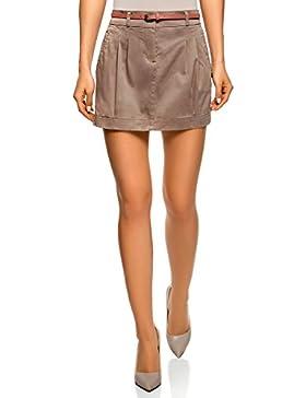 oodji Ultra Mujer Falda Corta de Algodón con Cinturón
