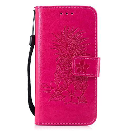 Bear Village iPhone 6 Plus/iPhone 6S Plus Hülle, Leder Flip Handyhülle Schutzhülle mit Kartenfach, Standfunktion und Magnetverschluss für Apple iPhone 6 Plus/iPhone 6S Plus, Rose Red
