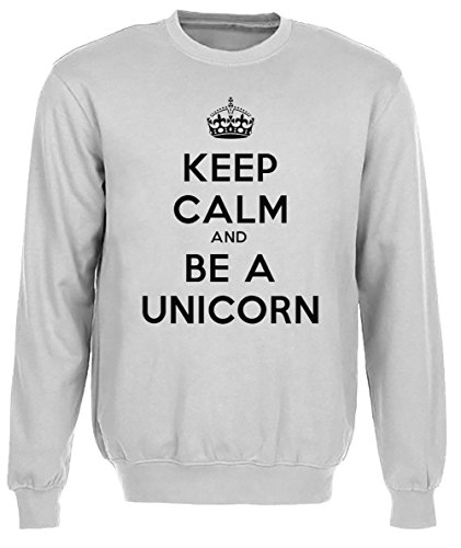 Keep Calm And Be A Unicorn Donna Grigio Felpa Felpe Maglione Pullover Grey Men's Sweatshirt Pullover Jumper