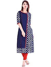 Beautiful Bollywood Kurti For Women Party Wear Offer Stylish Indigo Zig-Zag Print Women's Cotton Straight Kurta