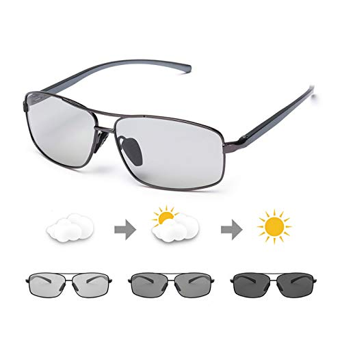 PdnIds Sonnenbrille Photochromatisch Herren Entfernen Sie die Blendung-Sonnenbrille Herren Polarisiert 100% UVA/UVB Schutz