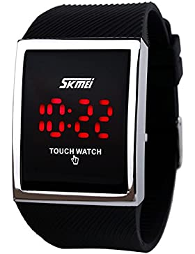 Herren Damen Touch Screen 30M Wasserdicht digital LED Sport Armbanduhr schwarz