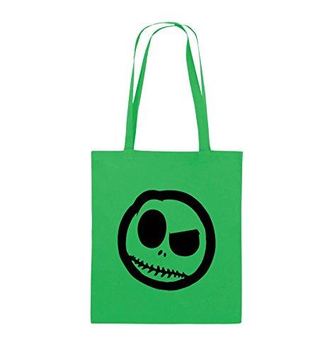 Borse Comiche - Male Smily - Fumetto - Borsa Di Juta - Manico Lungo - 38x42cm - Colore: Nero / Argento Verde / Nero