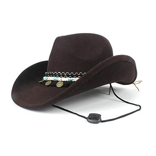 Filzhüte Caps & Kopfbedeckungen Mode Frauen Cowboyhut Quaste Band Dame Cowgirl Fedora Jazz Hut Mit Windseil Für Kostüm Kostüme Zubehör (Farbe : Braun, Größe : 56-59cm) (Jazz Kostüm Frauen)