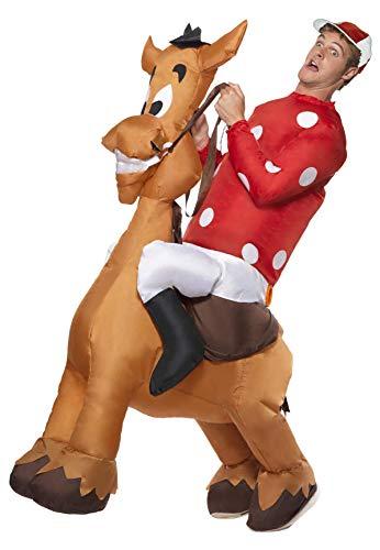 Aufblasbarer Jockey und Pferd Kostüm mit Jersey und Kappe, (Pferd Und Jockey Kostüme)