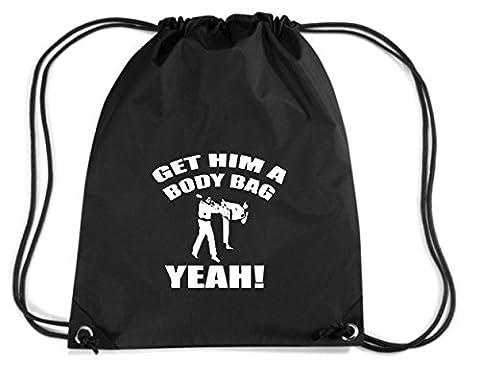 T-Shirtshock - Sac ? Dos Budget Gymsac TAM0074 karate kid get him a body bag dark tshirt, Taille Capacité de 11 litres.