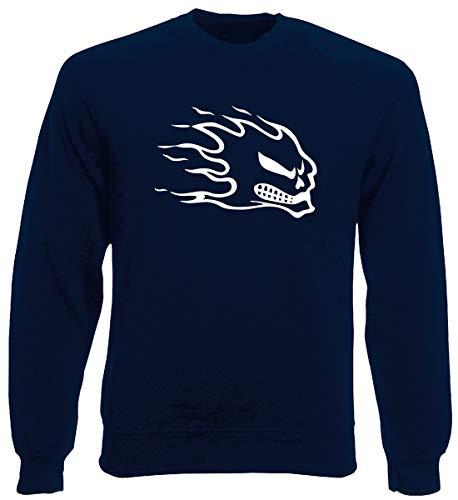 T-Shirtshock Rundhals-Sweatshirt fur Mann Blau Navy FUN0421 Flaming Skull Flaming Skull Sweatshirt