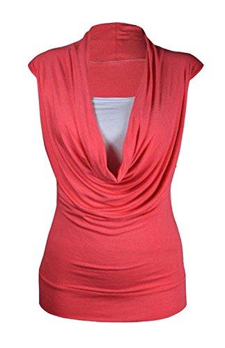 Damen Pulloverkleid Wasserfallausschnitt Raffungen, ärmellos, lang, ärmellos  mit Spitzenabschluss, Gr. 34