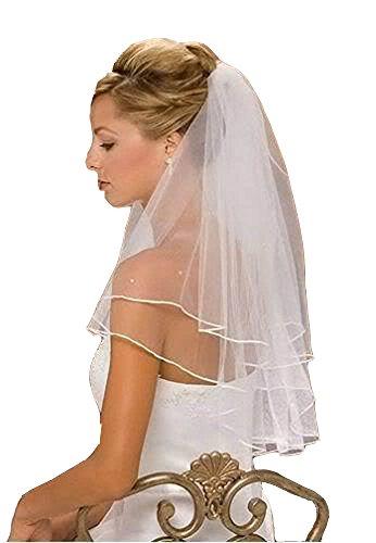 Eine Tier-soft-tüll Hochzeit Schleier (XYX Hochzeitsschleier Brautschleier Schleier Weiß oder Elfenbein 2-Tier Satin umrandet mit Strass-Kristall, 32