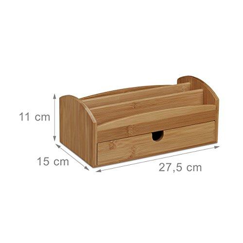Relaxdays Schreibtischorganizer aus Bambus, Multiköcher mit 4 Fächern und Schublade, natürliche Maserung, HBT: ca. 11 x 27,5 x 15 cm, natur - 3