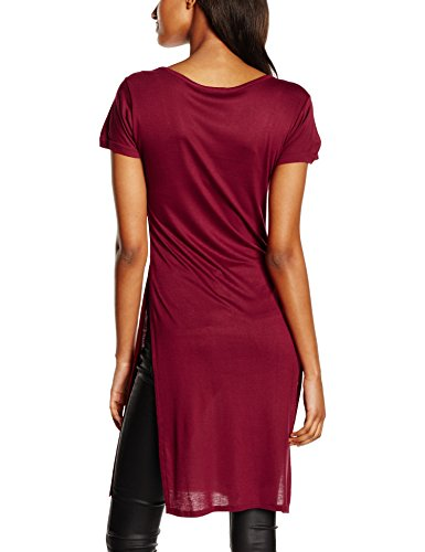 Urban Classics Damen T-Shirt Ladies Side Slit Viscose Long Tee Rot (burgundy 606)