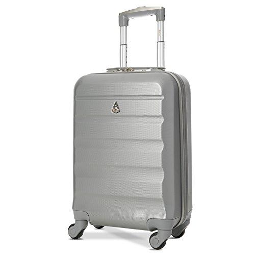 Aerolite Leichter ABS Hartschale 4 Rollen Handgepäck Trolley Koffer Bordgepäck Gepäck für Ryanair, easyJet, Lufthansa und viele mehr, Silber -