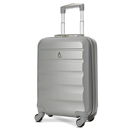 Trolley Aerolite ABS - bagaglio a mano 55x35x20 cm - Valigia rigida con 4 ruote. Ideale a bordo di Ryanair, Alitalia, Air Italy, EasyJet, WizzAir. Colore: argento