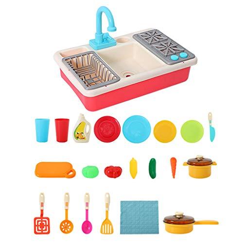 Momola Lernspielzeug für Kinder,Analoge Elektrische Spülmaschine,Spülbecken Spielzeug Kinder Elektrische Spülmaschine Hahn Spielzeug Rollenspiel, Geschirrspüler Spielzeug 46,5 x 28 x 14,5 cm (Rot)