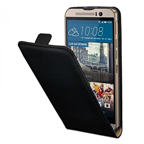 eFabrik Hülle für HTC One M9 und HTC One M9 Prime Camera Edition Schutzhülle Handy Tasche Smartphone Zubehör Flip Cover aus Kunstleder in Schwarz