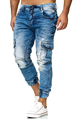 Red Bridge Herren Jogger Denim Jeanshose Cargo Hose Narrow Leg Jeans Blau W30 L32