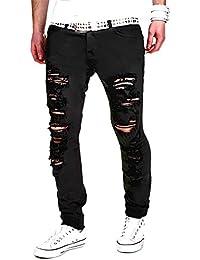 Homme Jeans Déchiré Style Destroyed Jeans Slim Fit Pantalon Denim