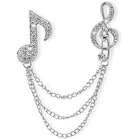 ROXI da donna platino/Placcato oro rosa cristalli pavimentazione Musica Simbolo catena spille e Pins