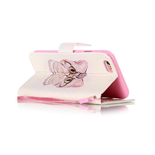 Etsue Lanyard Handytasche für iPhone 6S/iPhone 6 4.7 Zoll Komisch, Brieftasche Hülle für iPhone 6S/iPhone 6 4.7 Zoll Bunt Muster Strap Lederhülle Handyhülle Einzigartig Flip Hülle Leder Schutzhülle Vi Niedlich Braun Katze Augen