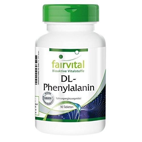 DL-Phenylalanin 500mg, DLPA hochdosiert, vegan, 90 Tabletten - essentielle Aminosäure für eine gesunde Gehirnchemie, für mehr Konzentration und...