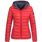 Marikoo Lucy Damen Stepp Jacke Parka Stepppjacke Übergangsjacke gesteppt Übergang warm XS-XXL 10-Farben, Größe:L / 40;Farbe:Rot