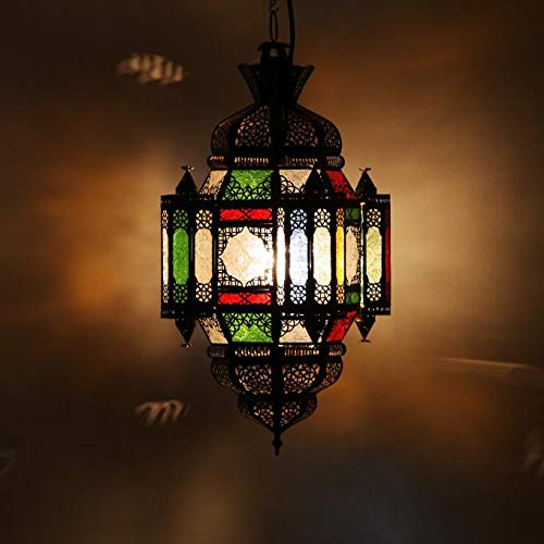 Orientalische Lampe marokkanische Hängelampe Moula Maurice Multi Höhe 60 cm Ø 26 cm aus Metall & Glas | Echtes Kunsthandwerk aus Marrakesch | Prachtvolle Pendellampe wie aus 1001 Nacht | L1357