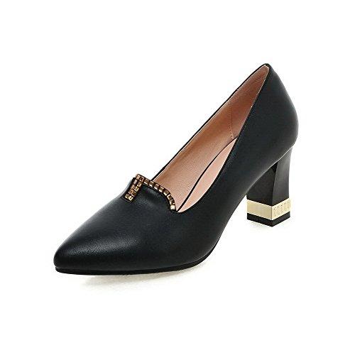 AllhqFashion Femme à Talon Correct Matière Mélangee Tire Pointu Chaussures Légeres Noir