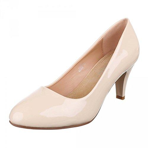 Klassische Damen Lack Pumps Glänzend Stilettos Abend Schuhe Party Hochzeit XQ2 Beige