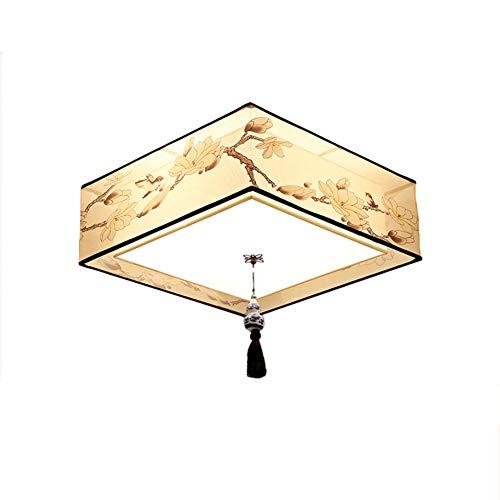 CUICANH Trommel Deckenleuchte, Moderner Kreativ Runde Stoff Iron art W?hrend dekoration Schaffell-schatten E27 Neuer chinesischer stil Deckenlampe-B-Platz 50x50x20cm (Chinesische Trommeln)