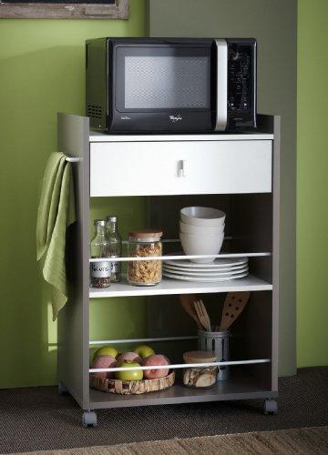 habeig Küchenwagen BASALT mit WEISS Küchentrolley Schublade Küchenschrank Küchenhelfer