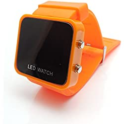 AKORD LED RETRO STYLISH FASHION DIGITAL MENS/LADIES/GIRLS/BOYS SILICONE WRIST WATCH (Orange)