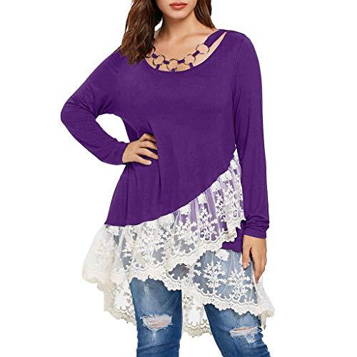 SUCES Damen Bluse, Frau Große Größe Mode T-Shirt Spitze Patchwork Hemd Lange Ärmel O-Ausschnitt Pullover Unregelmäßige Beiläufig Oberteile (Lila,S)
