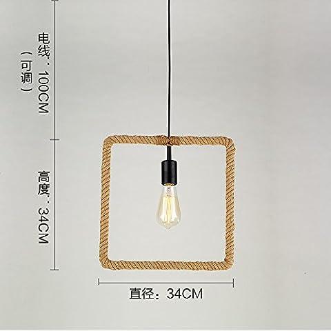 Lbcvh LOFT di stile Europeo e Vintage creativo industriale in ferro battuto lampadario abat-jour,Piazze (nessuna sorgente di luce)