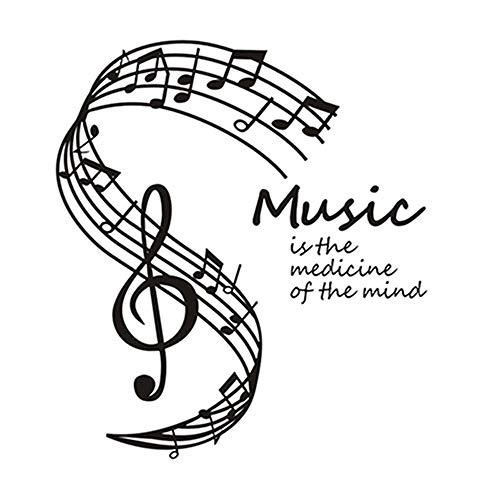 La musica è la medicina della mente Adesivi murali Note musicali Stave Home Decor Soggiorno Musica Note Stickers murali a9 44 * 50cm