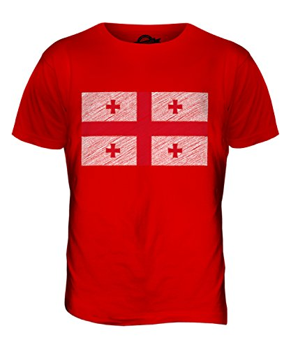 CandyMix Georgien Kritzelte Flagge Herren T Shirt Rot