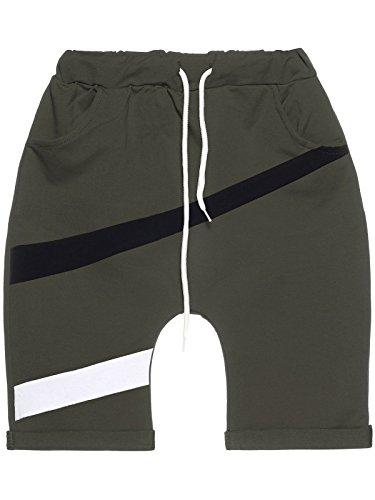 Jungen Kinder Capri Shorts Kurze Hose Baggy Made in Italy 22650, Farbe:Olivegrün, Größe:152