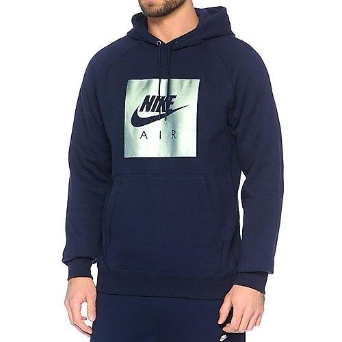 Nike M NSW Hoodie Po Flc Air HRTG, Sweatshirt Obsidian blau/Metallic grün