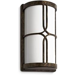 Philips myGarden Nectar - Aplique marrón, estilo rústico, casquillo gordo E27 bombilla incluida, iluminación exterior