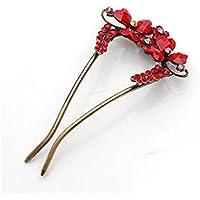 XWQ Forcella / cuore della pesca tornante capelli / donna bande U-tipo di capelli / forcella / capelli fibbia fascia Plug ( colore : Rosso )