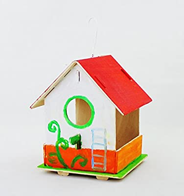 Robotime Wooden Bird House Kit for Kids to Build Child Educational Wood Craft Garden Furniture DIY Paint Kit by Robotime