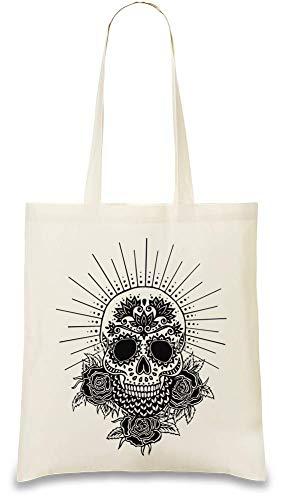 Zuckerschädel-Illustrations-glänzendes Kreuz - Sugar Skull Illustration Shining Cross Custom Printed Tote Bag  100% Soft Cotton  Natural Color & Eco-Friendly  Unique, Re-Usable & Stylish Handbag For
